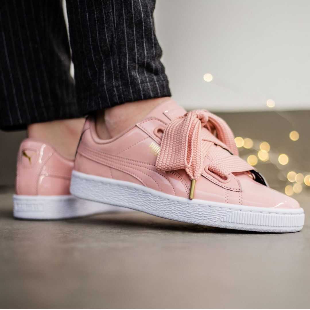 (PO) Puma Womens Basket Hearts Patent leather Pink f72c327ea