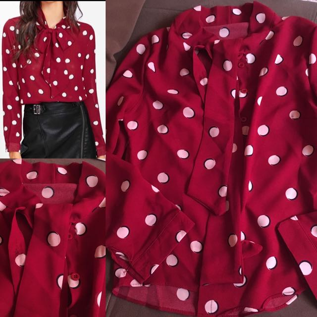 Polka top with tie(soo pretty)