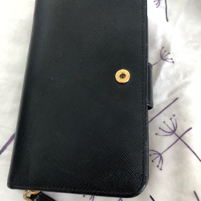 a345e0c2e4c6 ... italy prada 1m1225 saffiano leather french wallet with coin zip pocket  black fast deal this week