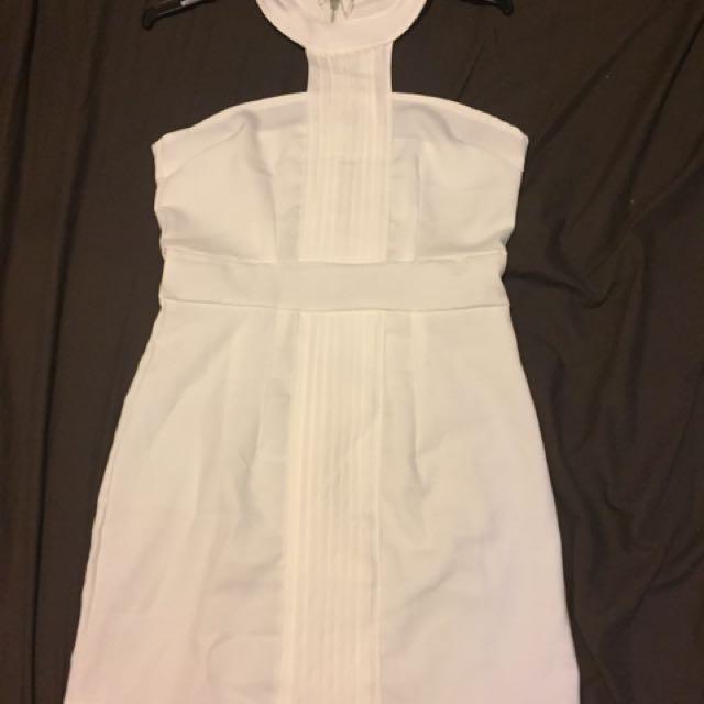 Pure white full zip up dress