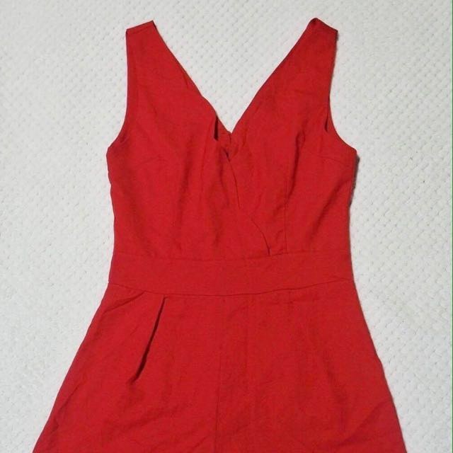 Red scallop romper