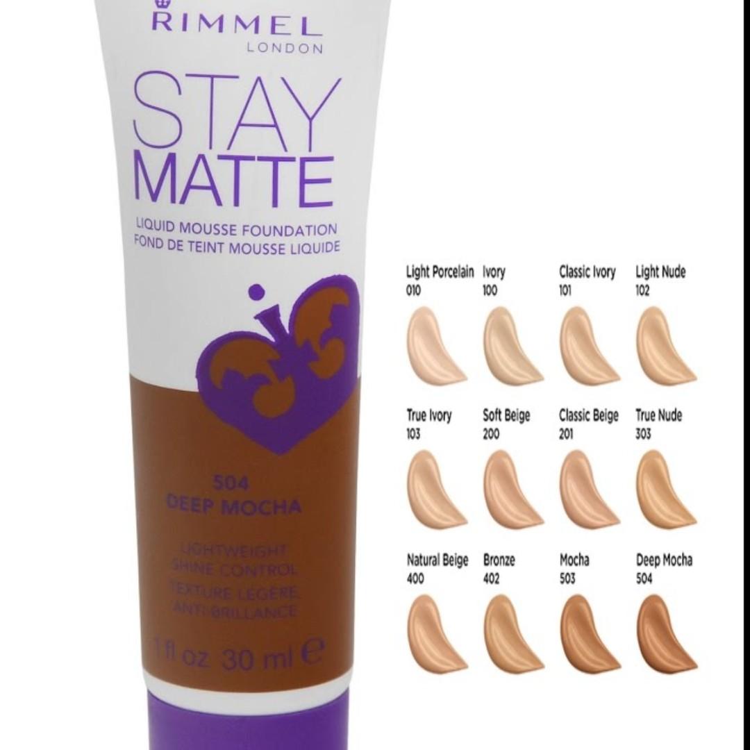Rimmel Stay Matte Liquid Mousse Foundation [ code: 201 classic beige ], Produk Badan dan kecantikan, Makeup di Carousell