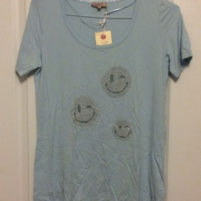 Select Baby Blue Emoji Shirt - Medium