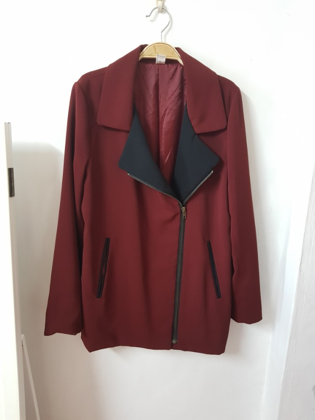 轉賣shin 騎士風斜拉鍊厚雪紡長袖外套