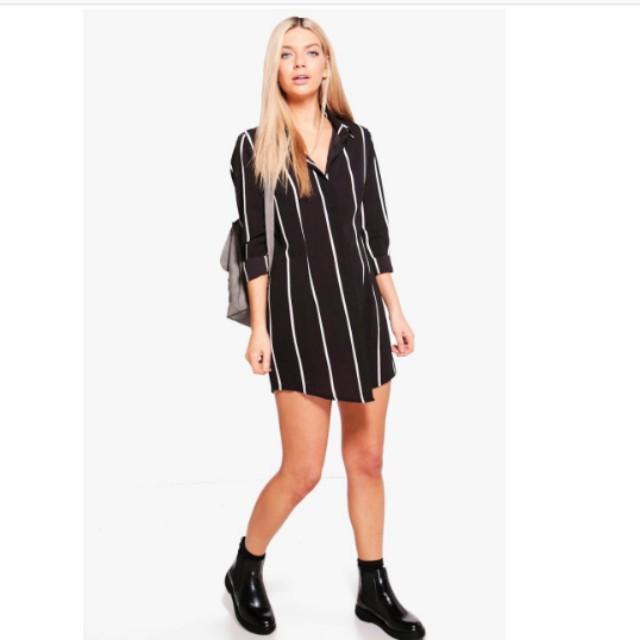 Size 14 Black and White Stripe Dress