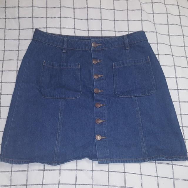 Size 14 Glassons Denim Button Down Skirt