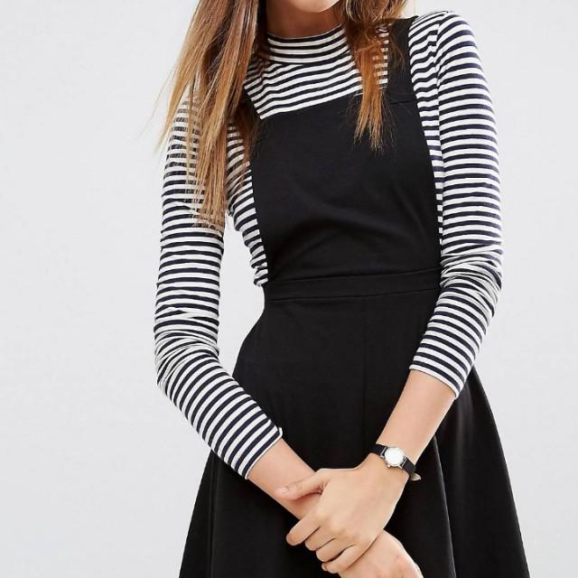 Size 16 Black Pinafore (Cotton)