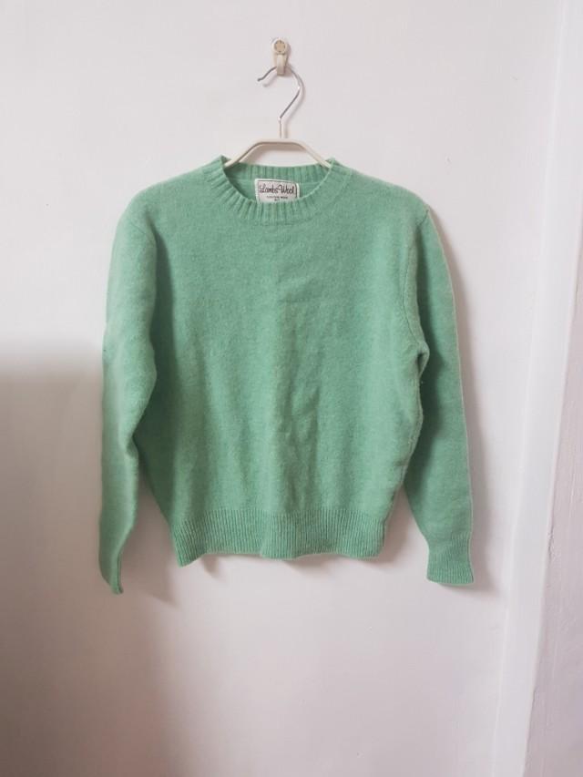 SLY日本品牌 100%羊毛蘋果綠毛衣上衣