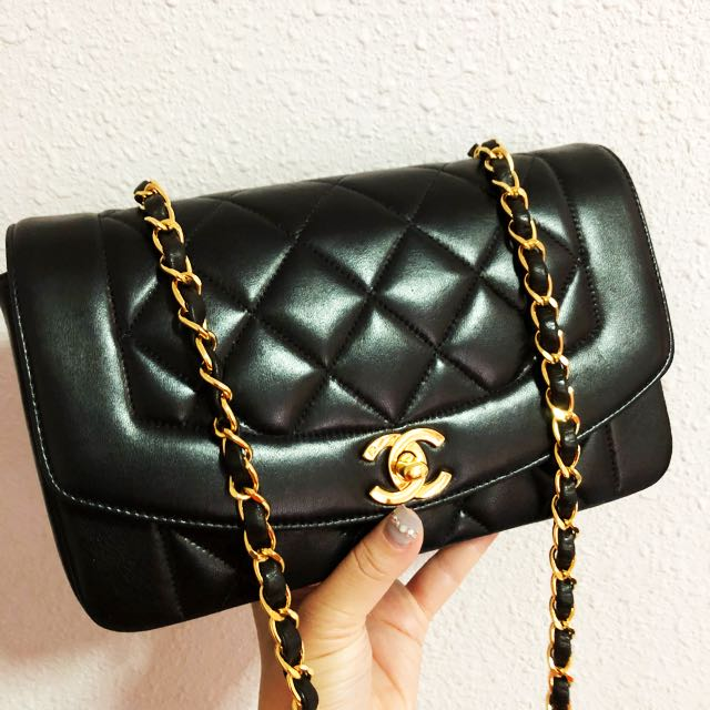 SOLD UPON ARRIVAL  authentic chanel 9 inch puffy quilts diana flap ... 6639d6b24cac4