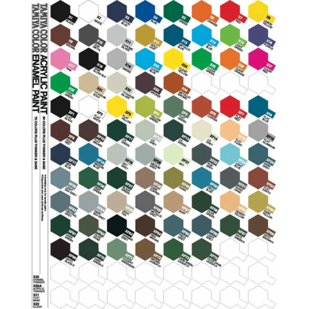 Tamiya acrylic spray paint colour chart paint color ideas tamiya spray paint x and xf series design craft geenschuldenfo Gallery