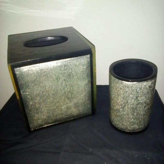 tempat tissue dan tempat sisir bahan acrilic