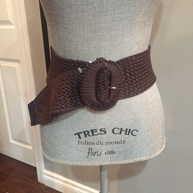 Thick Brown Woven Weave Belt M/L