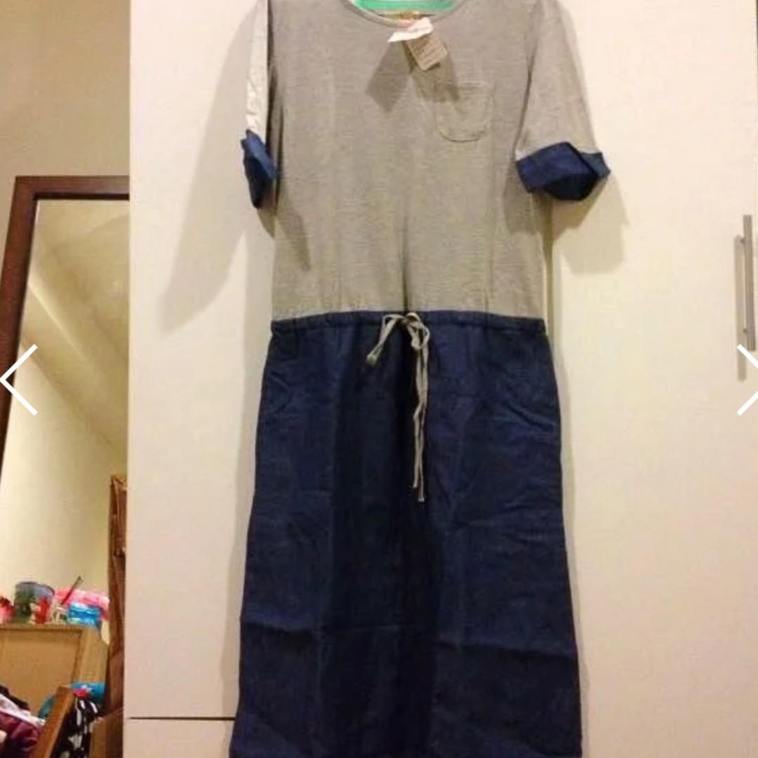 日本TITICACA 伸縮綁帶丹寧牛仔洋裝