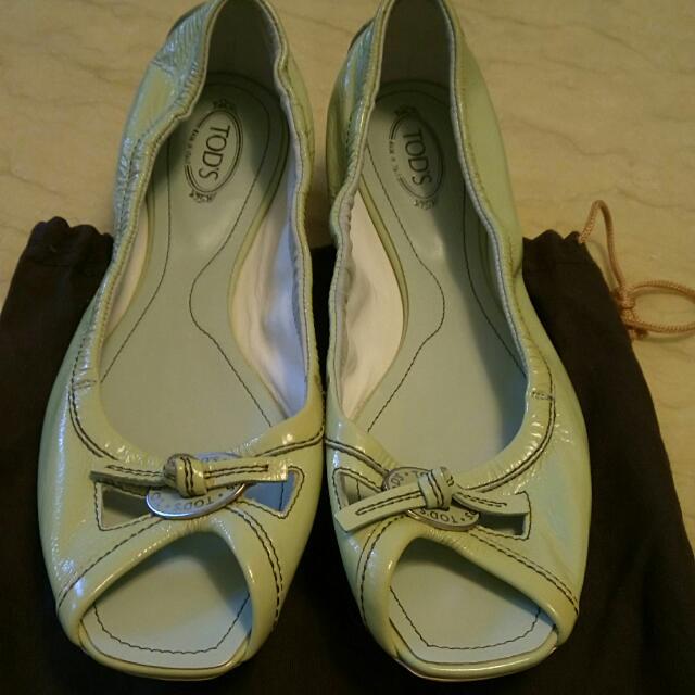 TODS漆皮魚口鞋黃綠色39