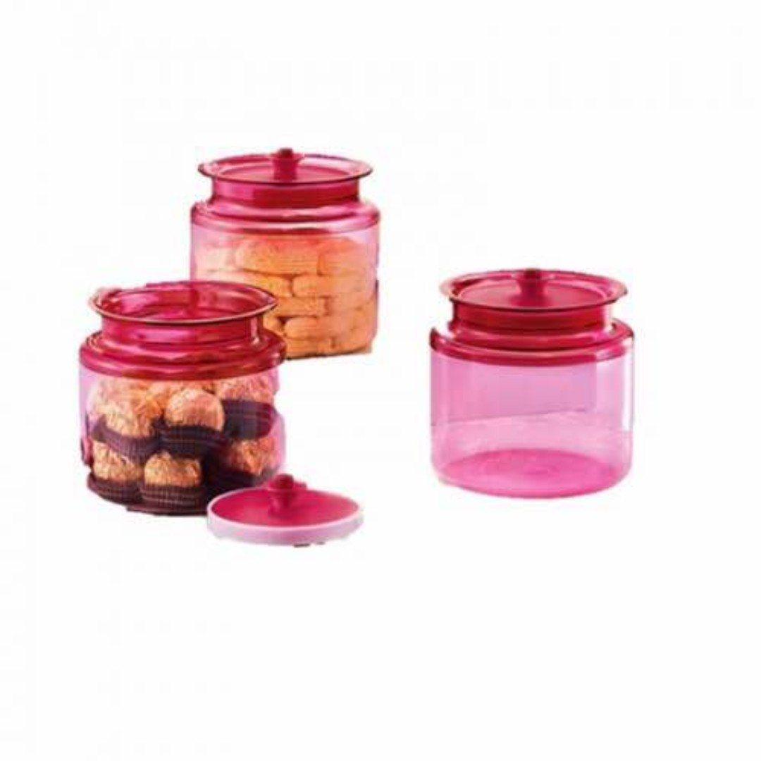Tupperware Airtight Counterparts 900ml 3pcs Kitchen Appliances Classy Red Collection On Carousell