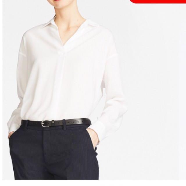 24ce5b749e UNIQLO Women Rayon Long Sleeve Blouse 00-White, M size, Women's ...