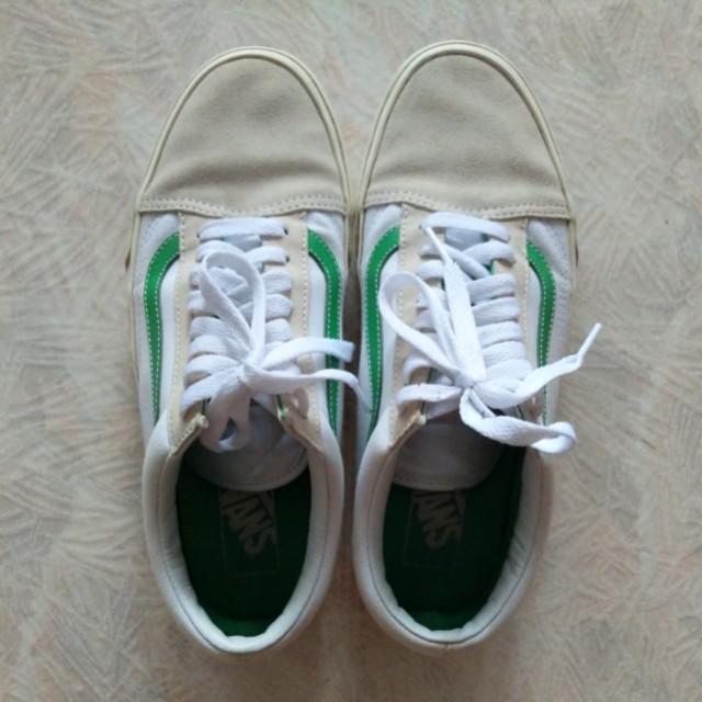 Vans Old Skool Shoes True White/Kelly Green