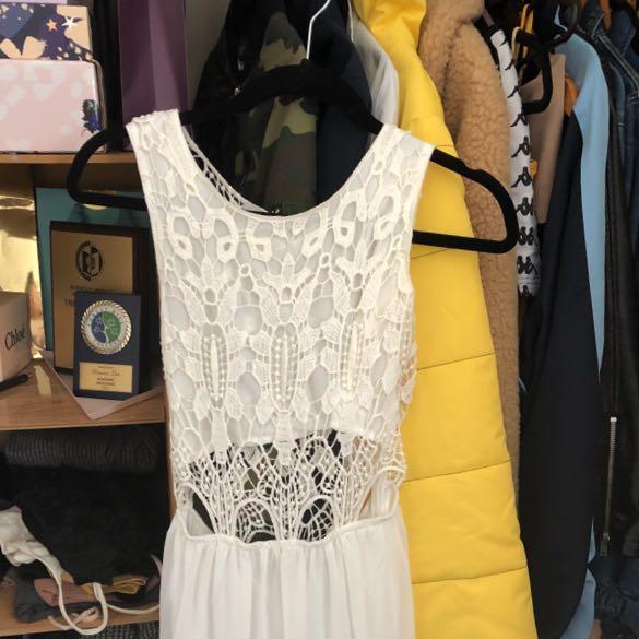 White Maxi Crochet Dress