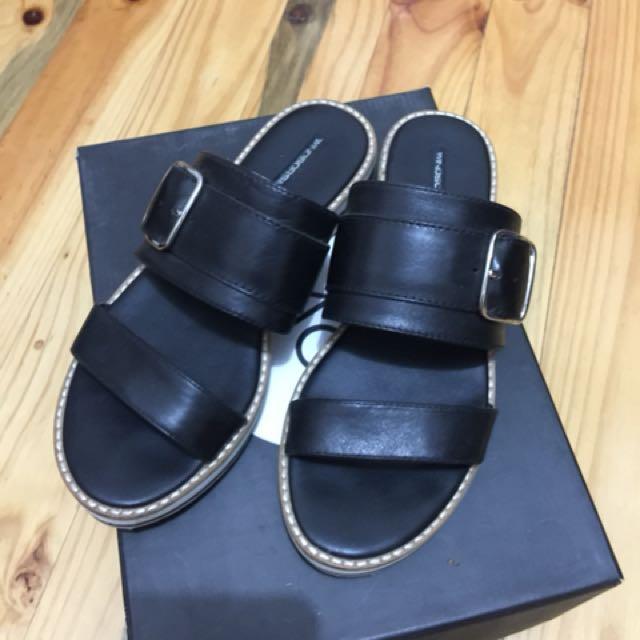 Windsor Smith Black Leather Platform Sandal Slides