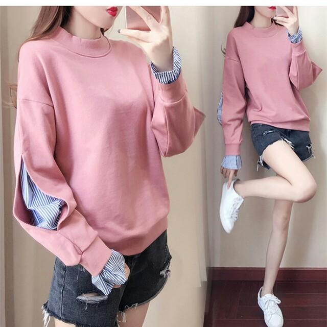 XL~5XL 大碼假兩件衛衣T恤(2色)
