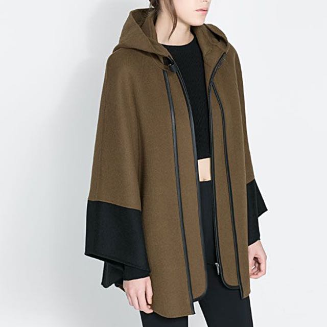Zara - Brown Hooded Cape Jacket With Faux Leather Detail