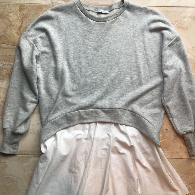 ZARA LOOSE CASUAL DRESS WITH GREY CREW NECK JUMPER LONG SLEEVE