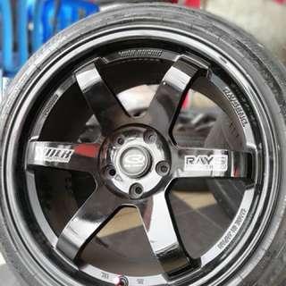 Te37sl 18 inch sports rim lancer gt tyre 70%
