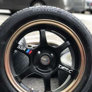 Ssr type c 15 inch sports rim myvi tyre 98%. Rim & tyre 3 weeks old