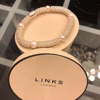 Links of London sterling silver and white pearl bracelet