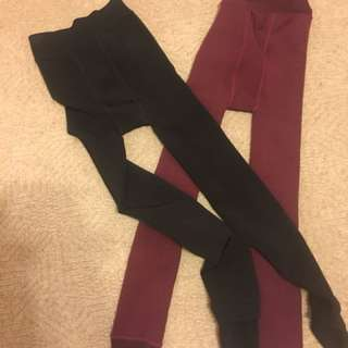 Warm winter leggings burgundy and black s-m