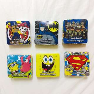 Lot of 6 Magic Towels - Spongebob, Batman, Ninja Turtles, Superman
