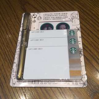 Starbucks White Plain Card (Set + Gold Marker)