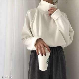🔹 韓版高領素色加厚針織毛衣