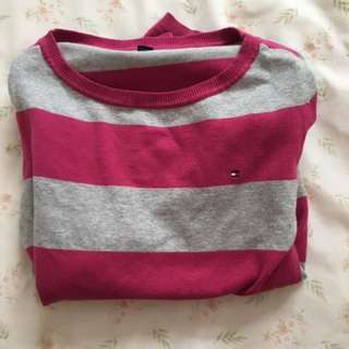 Tommy Hilfiger pink and grey striped shirt