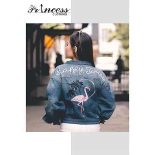 new arrival ☺️ Flamingo Jeans Jacket - seri 3pc - hrga 145.000 - bahan real jeans, - bordir asli - - fit to XXL MUST HAVE 💃🏾 #newarrivals #bestseller #musthave #highquality #jaket #realpicture #fashion #bandung #readystock #terupdate #bandungclothing