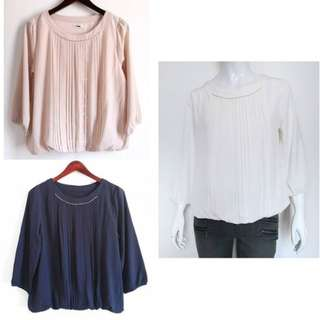 TRUDEA Pleated Blouse (Navy, White, Dusty Pink)