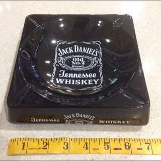 Original Vintage 1980's Huge OverSized Glossy Black Ceramic Jack Daniel's Whiskey Advertising Dealers Ashtray Punk Rock Metal City Era Made In England Lifestyle Exclusive Liquor Memorabilia