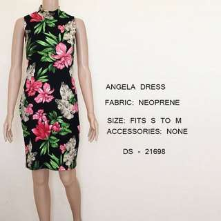 Tropical Floral Black Dress Office / Party wear