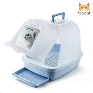 掀蓋式全罩雙層貓砂盆 抽屜好清理 封閉式貓沙盆 肥貓也可以