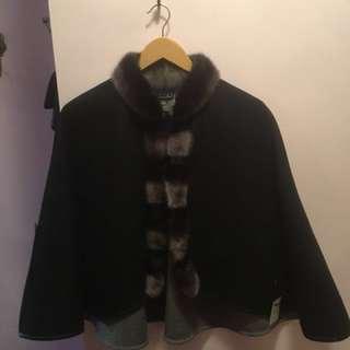 Cashmere Fur Trimmed Cape (Holt Renfrew BRAND NEW!)