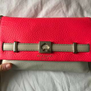 CORAL&WHITE KATE SPADE CLUTCH