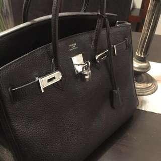 Hermes Cowhide Black Bag