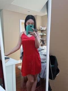 OS Zaful Red Satin Dress
