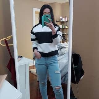 M black and white neoprene sweatshirt