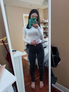 OS stylenanda white stretch top/M american apparel black high waisted jeans