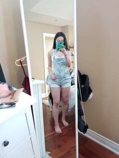 8 h&m light blue denim overalls