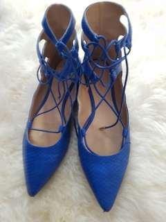 8 blue strappy pointed toe flats