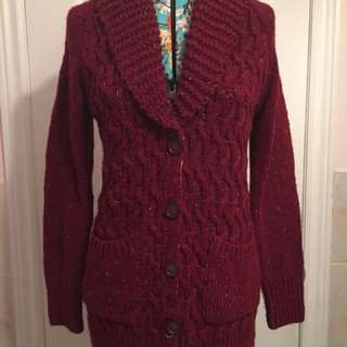 Anthropologie maroon knit sweater