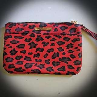 Red Leopard Collette clutch / makeup bag