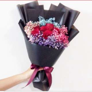 Rose Bouquet / Red Roses with Rainbow Baby Breath / Fresh Flower Bouquet